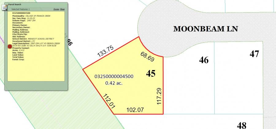 711 Moon Beam Ln,Francis Creek,Wisconsin 54214,Land/Lots,Moon Beam,1338