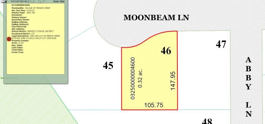 715 Moon Beam Ln,Francis Creek,Wisconsin 54214,Land/Lots,Moon Beam,1340