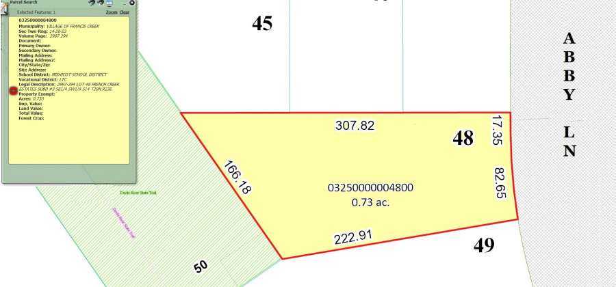 207 Abby Ln,Francis Creek,Wisconsin 54214,Land/Lots,Abby,1346